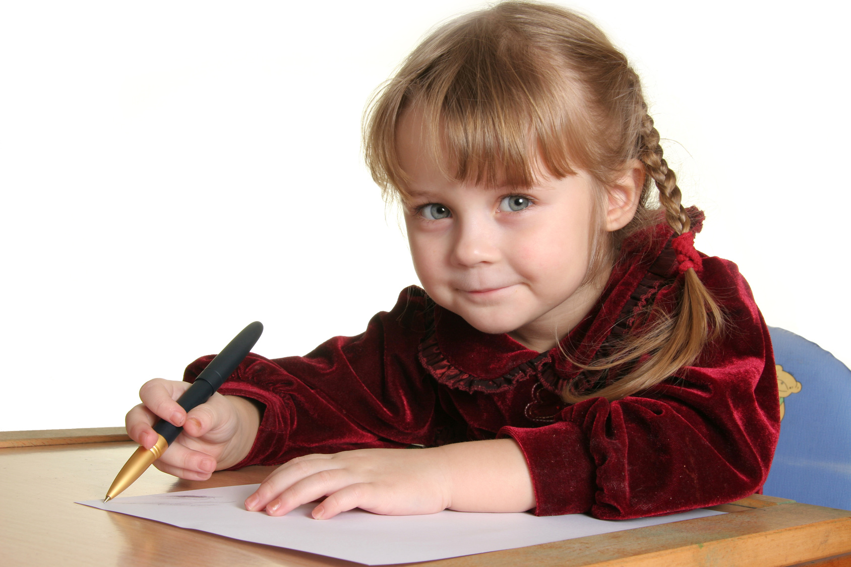 young pretty girl learn drawing with pen